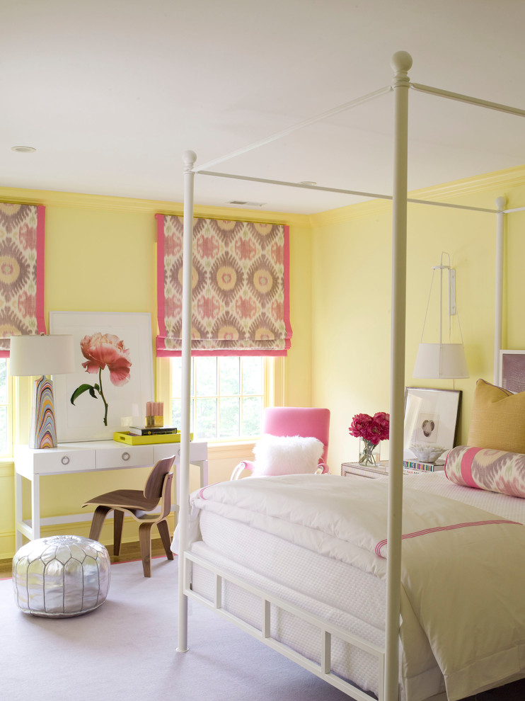 Buttery Yellow Walls Idea Girly Prints On Curtains White Sleeping  Properties White Bed Frame In Traditional