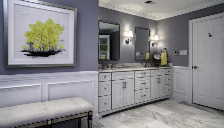 carrera marble bathrooms bench raised panel cabinets granite countertop wall painting sink faucets mirror lamps transitional design