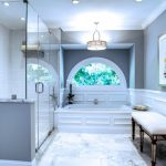 Carrera Marble Bathrooms Modern Pendants Alcove Shower Double Glass Doors White Bench Granite Tiles Wall Decoration Transitional Style