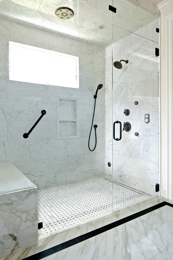 carrera marble bathrooms undermount sink mosaic tiles alcove shower hanging towel rack traditional design