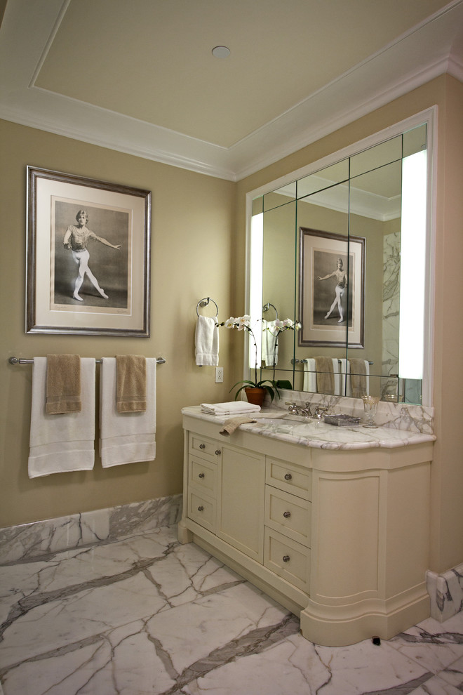 Carrera Marble Bathrooms White Cabinet Countertop Hanging Towel Rack Single  Hole Sink Faucet Wall Lamps Traditional