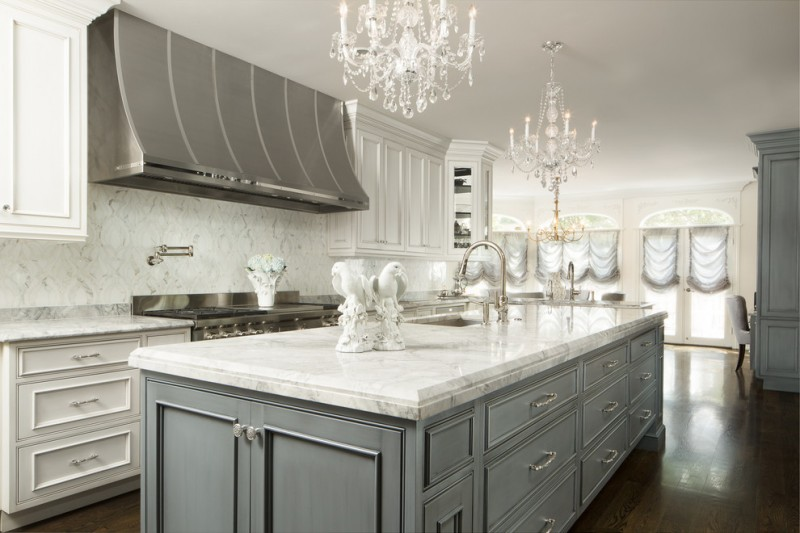 classic style kitchen design with white marble top and grey cabinets i shaped white countertop white backsplash white kitchen cabinets stainless steel appliances