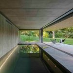 Concrete Slabs Enclosure For Rectangular Pool Concrete Walls For Pool Room Frameless Glass Windows And Door