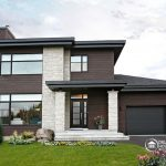 contemporary exterior small home plans with garage brown siding eyebrow roof cedar siding stone