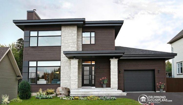 contemporary exterior small home plans with garage brown siding eyebrow roof cedar siding stone
