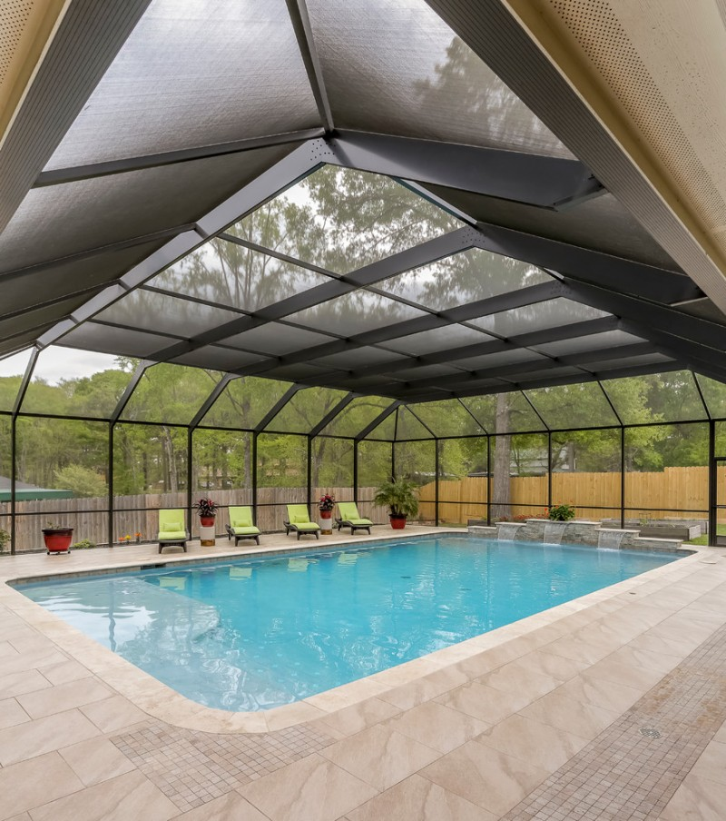 contemporary pool enclosure for patio pale marble floors green pool furniture