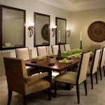 decorative mirrors for dining room light fixtures candleholders tall back chairs dining table wall decoration beige floors contemporary design