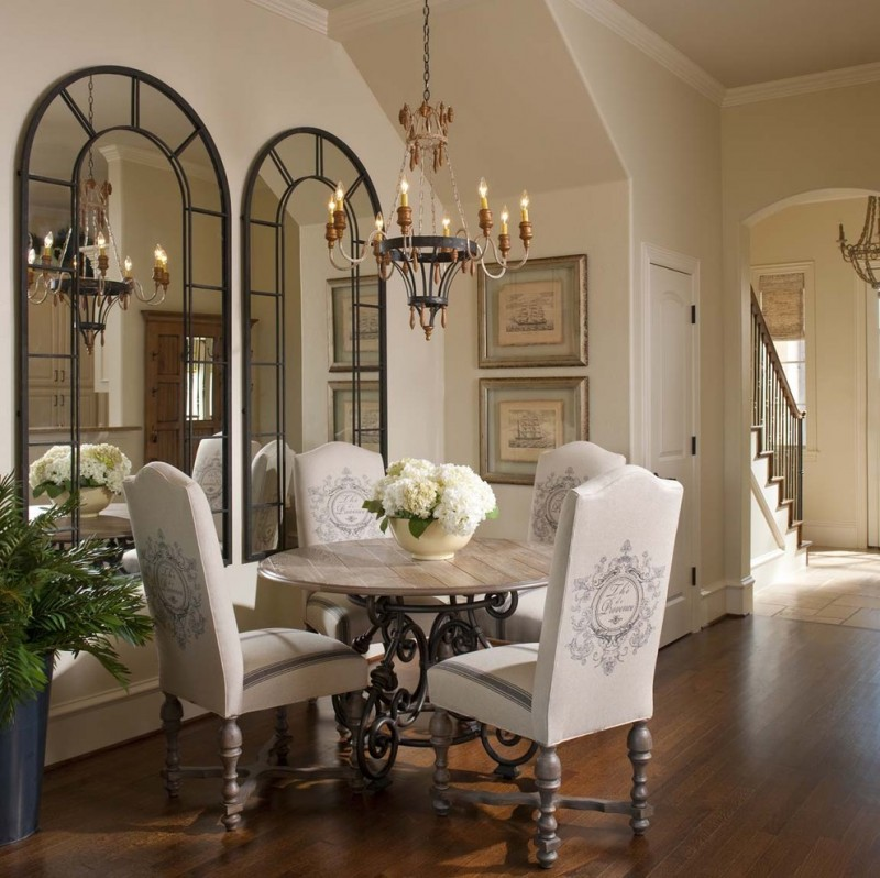 decorative mirrors for dining room round table tall back chairs chandelier hardwood floors table pot stairs white door flower centerpiece framed wall decorations traditional design