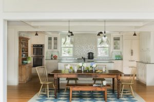 farm style kitchen table carpet beautiful floor chairs bench lamps window cabinets traditional style room