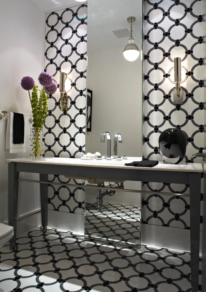 floor to ceiling mirror cool floor wall patterns flowers towel rack modern lamps contemporary bathroom