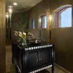 Floor To Ceiling Mirror Vanity Flowers Cool Hanging Lamps Window Faucet Transitional Powder Room