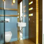 floor to ceiling mirror wall mounted toilet modern lamps faucet cool wall contemporary bathroom