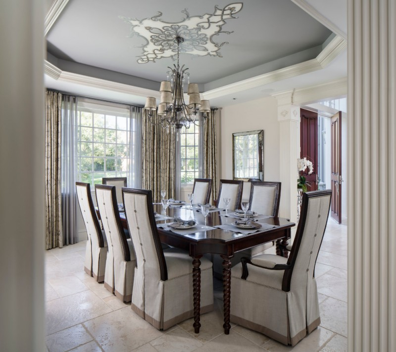 French Provincial Dining Room Ceiling Stencil Traditional Ideas Enclosed Ceramic Floor
