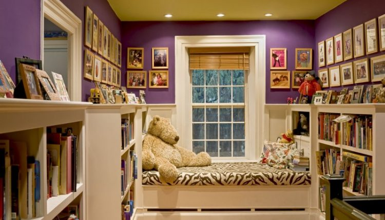 fun reading nook furniture zebra bed purple wall bookself wood flooring reading lamp