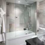 galss doors for bathtub shower ceiling lamp vanities sink towel rack marble tile contemporary style