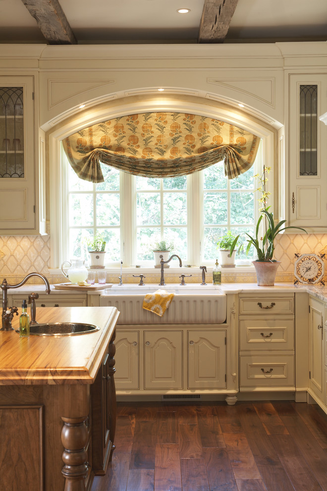 Garden Windows For Kitchen Farmhouse Sink Wood Countertops Recessed Panel  Cabinets Hardwood Floors Ceiling Lights Island