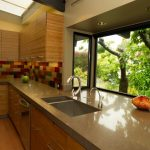 garden windows for kitchen quartz countertops flat panel cabinets double bowl sink ceiling lights subway tile backsplash faucet stainless steel appliances hardwood floors modern design