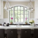 garden windows for kitchen stools island solid surface countertops shaker cabinets subway tile backsplash undermount sink glass pendants transitional design
