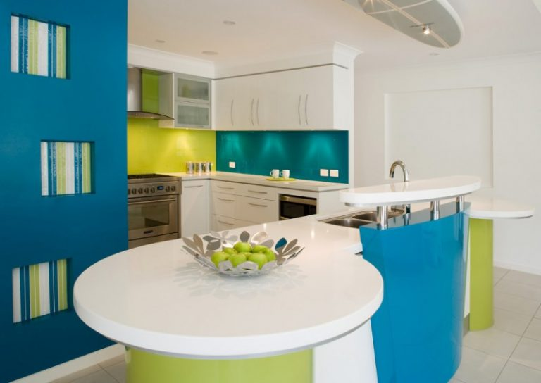Good Colors For Kitchens Island Glass Sheet Backsplash Flat Panel Cabinets  Double Bowl Sink Stainless Steel