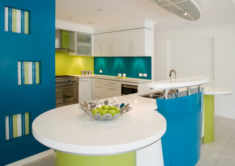 good colors for kitchens island glass sheet backsplash flat panel cabinets double bowl sink stainless steel appliances ceramic floors contemporary design