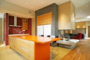 good colors for kitchens island orange countertops red backsplash hardwood floors ceiling lights undermount sink sofa couch carpet black stools contemporary design