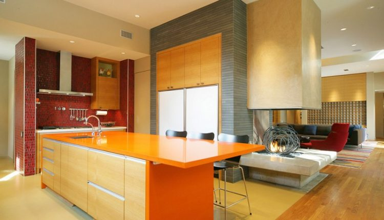 good colors for kitchens island orange countertops red backsplash hardwood floors ceiling lights undermount sink sofa couch carpet black stools contemporary design