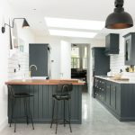 Good Colors For Kitchens Recessed Panel Cabinets Peninsula Island Light Fixtures Subway Tile Backsplash Black Pendant Undermount Sink Low Back Stools Marble Floors Transitional Design