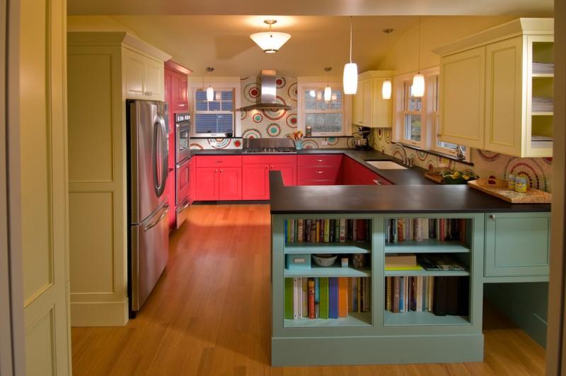 good colors for kitchens recessed panel cabinets undermount sink mosaic tile backsplash hardwood floors pendants light fixture wood countertops contemporary design