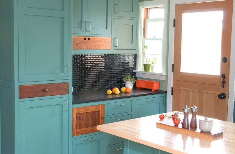 good colors for kitchens shaker cabinet mosaic tile backsplash glossy wood tabletop door window decorative plants contemporary design