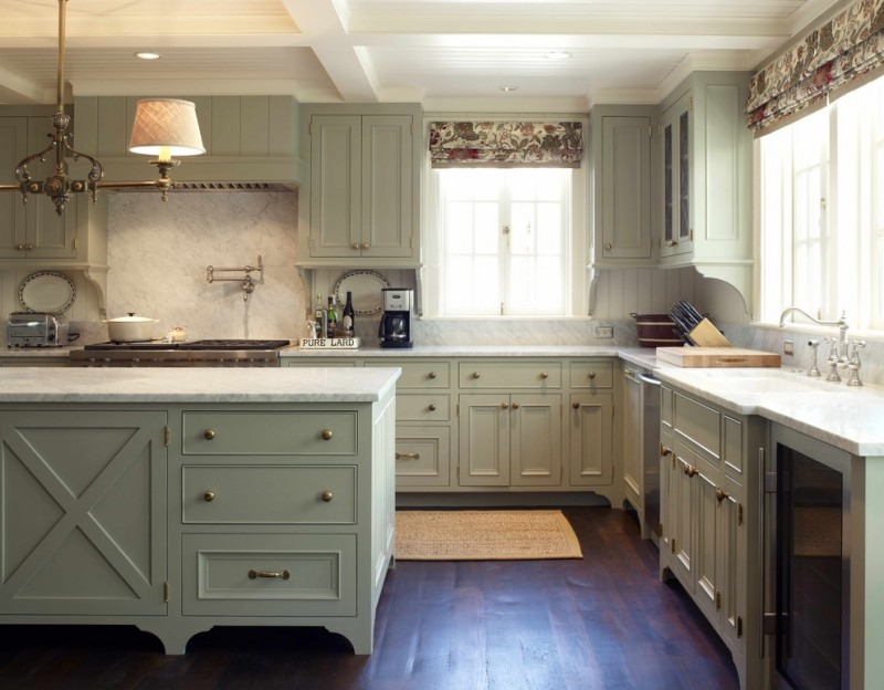 good colors for kitchens shaker cabinets chandelier undermount sink windows blinds white backsplash marble countertops hardwood floors ceiling lights rug traditional design