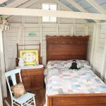 Guest Bed For Small Spaces Wood Floor Rocking Chair Window Pillows Bedside Table With Storage Shabby Chic Style Room