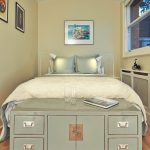 Guest Beds For Small Spaces Under Bed Storage Window Lamps Pillows Paintings Wood Floor Industrial Bedroom