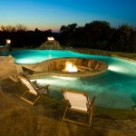 inground fire pit traditional pool folding reclining sling chair curved fire pit curved pool