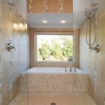 jacuzzi tub shower combo cool walls window faucet glass ceiling lights modern bathroom