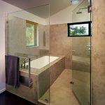 jacuzzi tub shower combo windows towel rack faucet contemporary bathroom