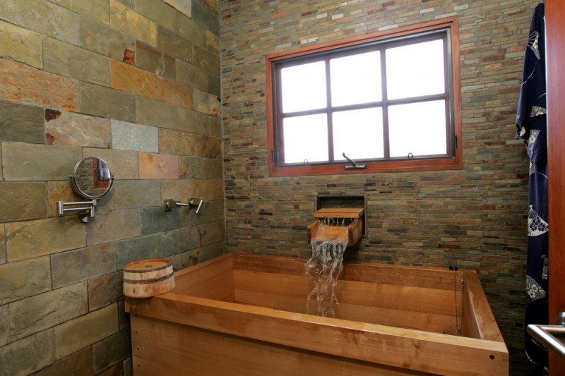 Japanese Soaking Tub Small Part - 41: Japanese Soaking Tub Small Wall Mounted Smedbo Shaving Or Make Up Mirror  Stone Brick Wall Wooden