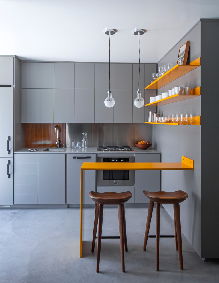 kami stool breakfast bar grey and orange kitchen decor tiny kitchen pendant lighting Ushaped Kitchen Ideas