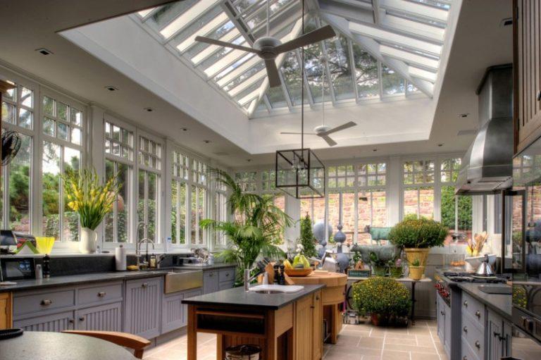 Kitchen Greenhouse #7 - Kitchen Greenhouse Window Gloss White Modern Ceiling Fan Fulton Single  Light Chandelier Natural Areca Palm