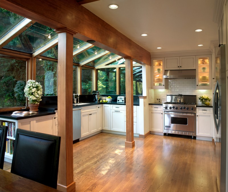 Kitchen Greenhouse Window Wood Flooring Glass Cabinet Unique Kitchen Stand  Mixer Half Glass Ceiling Single Hole