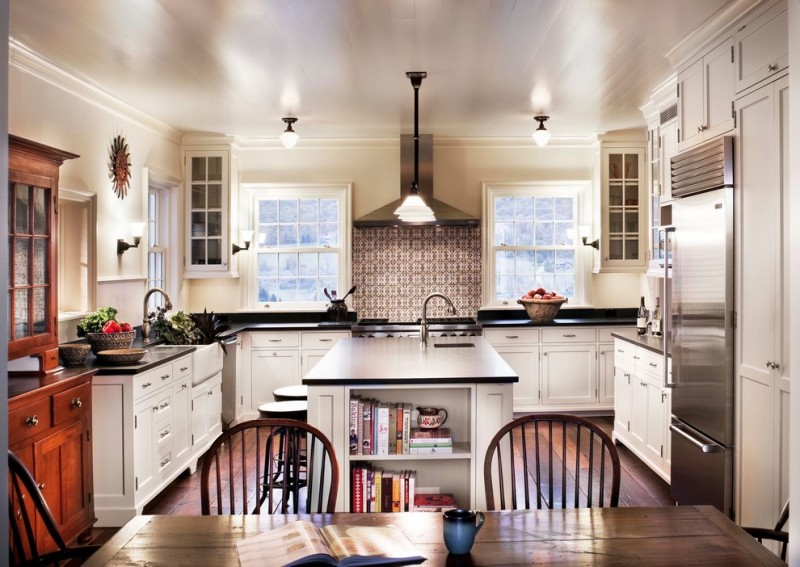kitchen remodeling nyc chairs table windows wall cabinets lamps kitchen island shelf books sinks faucets farmhouse kitchen