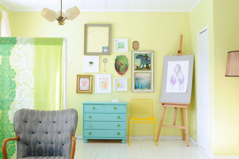 Light Yellow Painted Wall Idea Blue Console Table Decorative Picture Frames Bright Chair Linen Room