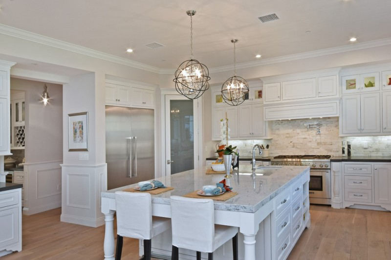 lighting pendant lights for kitchens Orbit three Light Pendant white granite white cabinet and storage