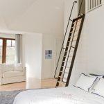 Loft Ladder Ideas Bed White Bedding Couch Hardwood Floor Carpet Multiple Windows Curtains Ceiling Lights Contemporary Design