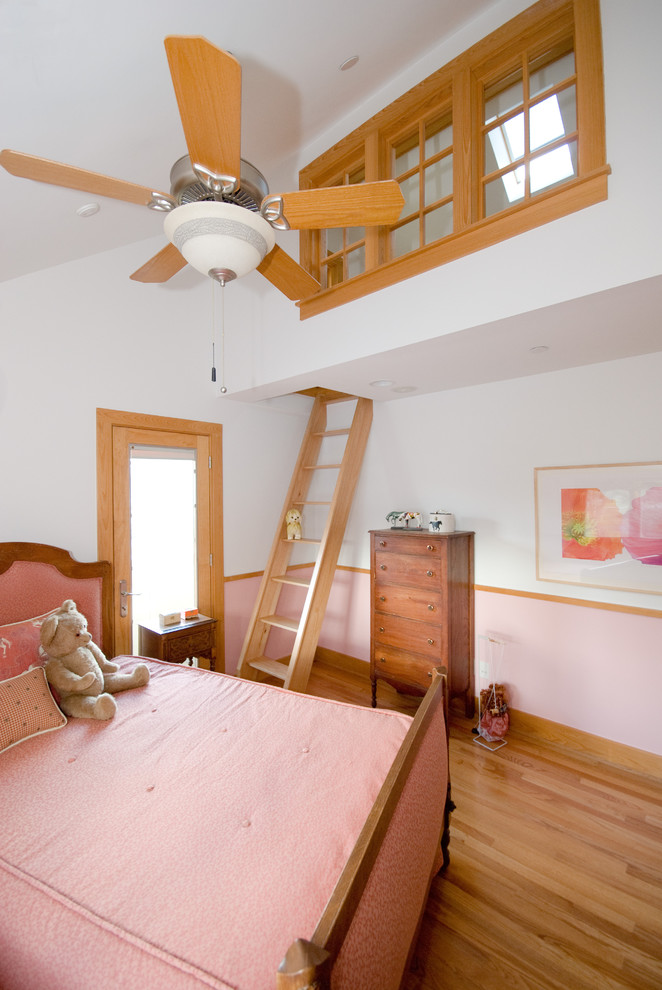 loft ladder ideas hardwood floors wood cabinets bed sheet bedding stuffed animal ceiling fan high windows traditional design