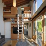 loft ladder ideas movable stairs sofa wood table chairs bookshelves flat tv long pendants carpet decorations double glass doors contemporary design
