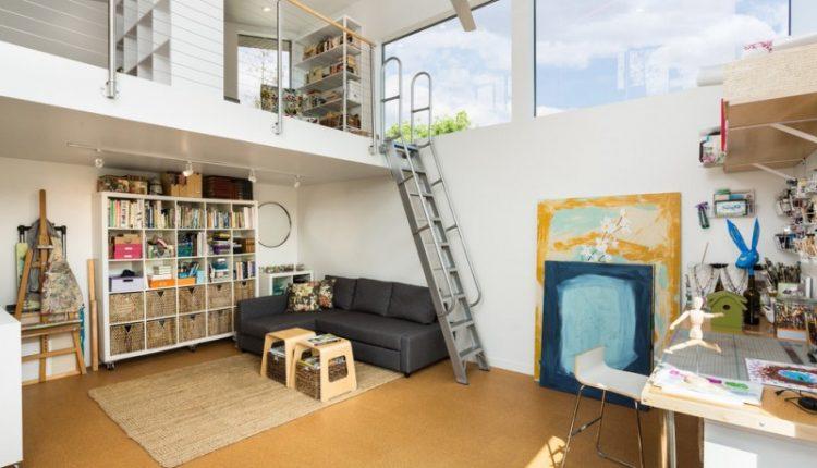loft ladder ideas sofa bookshelves hanging shelf table storage ottoman carpet ceiling lights cabinets chairs concrete floors wall painting contemporary design