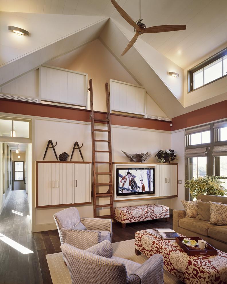 loft ladder ideas sofa chairs ottoman bench tray built in media wall flat tv hardwood floor wall lamps ceiling fan pendants contemporary design