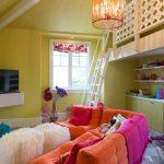 Loft Ladder Ideas Sofa Throw Pillows Fur Ottoman Carpet Flat Tv Built In Bookshelves Cabinet Ceramic Floors Stairs Contemporary Design