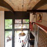 loft ladder ideas wall decoration railing pendants kitchenette stove hardwood floors double glass door high ceiling industrial design