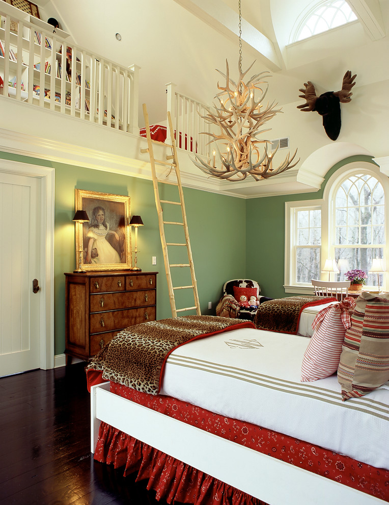 loft ladder ideas white bedding hardwood floors chandelier wall decorations table lamps wood cabinets bookshelves couch chair traditional design